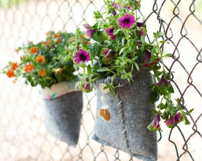 giardini interni fioriera riciclo maglione